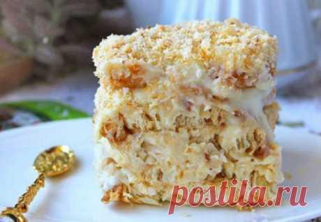 Наполеон для ленивых: торт из печенья без выпечки