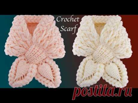 Bufanda a Crochet Puntos trenza Mariposa Punto de hojas en 3D tejido tallermanualperu