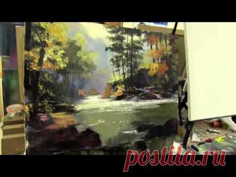 Sakharov, a aprender dibujar el paisaje al óleo sobre el lienzo, las lecciones del dibujo en Moscú - YouTube