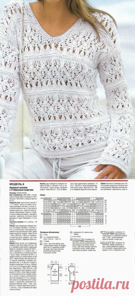 Ажурный вязаный пуловер спицами