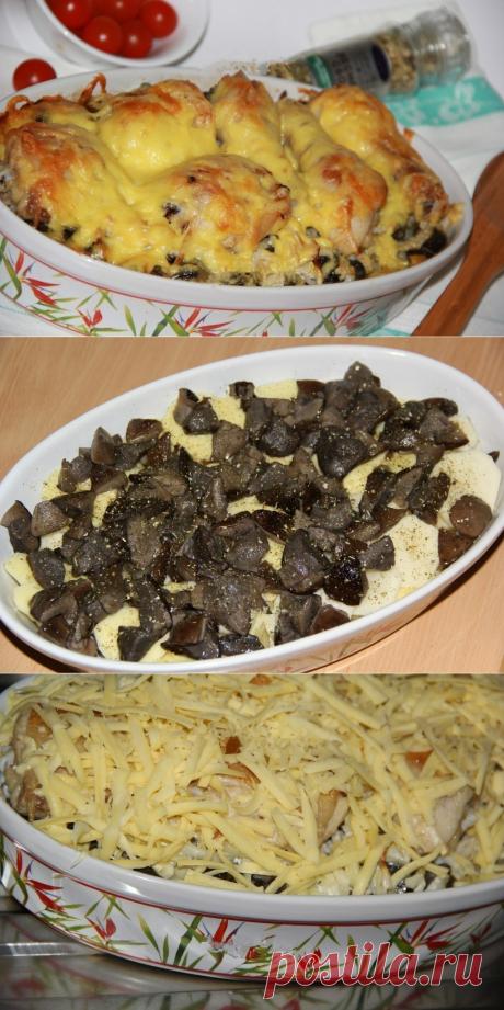 Как приготовить куриные ножки с картошкой и грибами в духовке. - рецепт, ингридиенты и фотографии