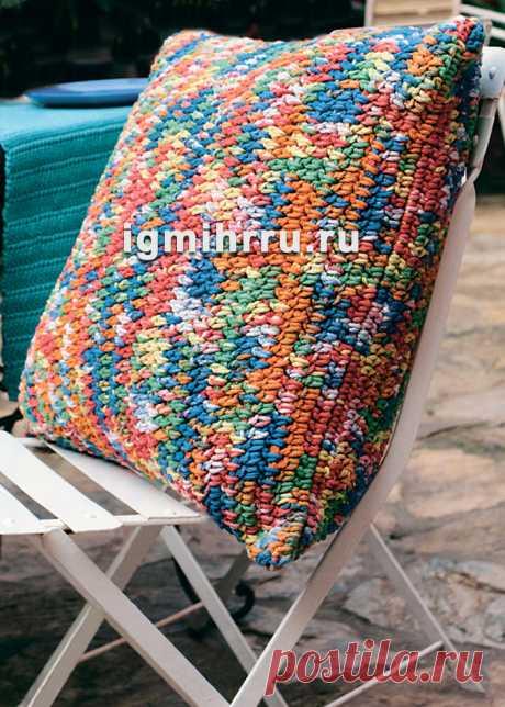 Разноцветный чехол для подушки. Вязание крючком