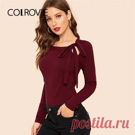 Женский облегающий топ с рукавом реглан COLROVIE, однотонная элегантная уличная одежда бордового цвета, повседневные эластичные топы, осень 2019|Футболки| Детские жаккарды| роспись по ткани | готовые выкройки |