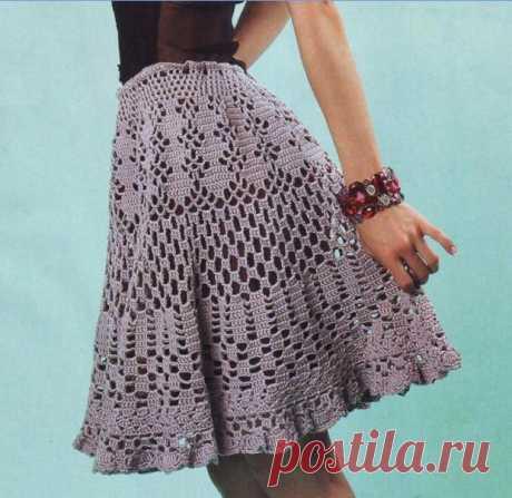Юбка карандаш крючком СХЕМА Стильная юбка ажурным узором - Prakard