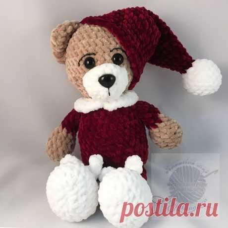 Мишка в пижаме, плюшевая игрушка в бардовой пижаме, 25 см Купить!Плюшевый мир Мастерская игрушек Анны Ганоцкой