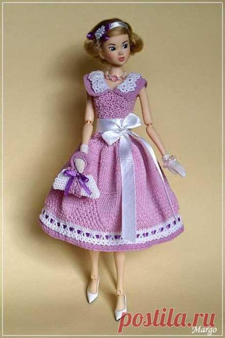 Crocheted Pink Dress Fits Barbie | Roupas De Crochê Para