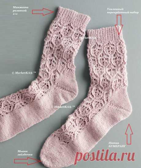 Носки спицами - Розовый ажур