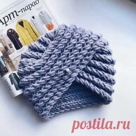 Ультрамодная шапочка-чалма (Вязание спицами) – Журнал Вдохновение Рукодельницы
