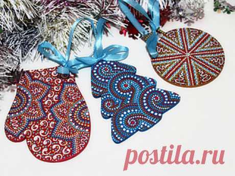 Мастер-класс по точечной росписи новогодних подвесок - Ярмарка Мастеров - ручная работа, handmade