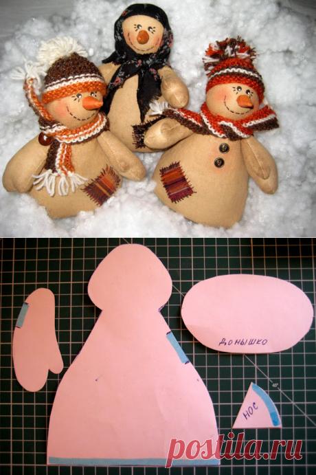 чУдные яркие снеговики из лоскутов — Рукоделие
