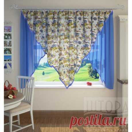 Штора для кухни №K201-06, голубой купить в интернет-магазине ShtoraNaDom.ru