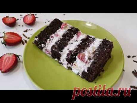 """Лёгкий торт """"Фреш""""! - шоколадные коржи, творожный крем, фрукты"""