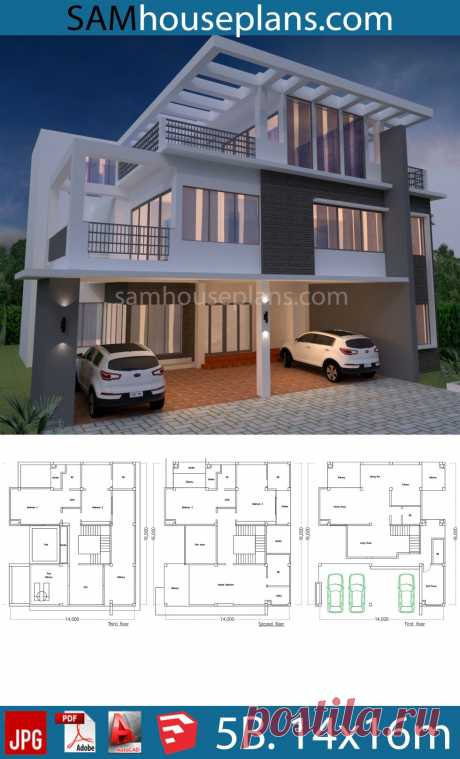 House Plan 14x16m with 5 Bedrooms - SamHousePlans