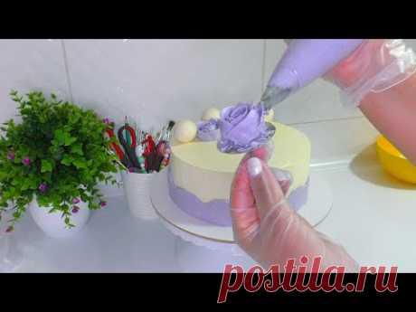 ЦВЕТЫ из белково масляного крема Как украсить торт Лёгкое и простое украшение торта