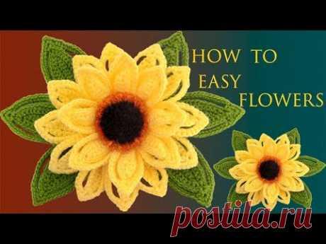 Como hacer Flores Fáciles Girasoles en 3D a Crochet con hojas tejido tallermanualperu