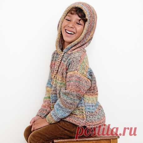 Детский свободный пуловер с капюшоном - схема вязания спицами с описанием на Verena.ru