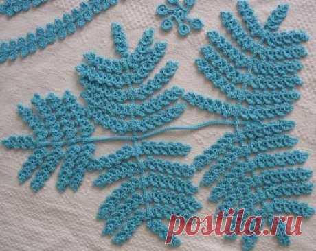 Вяжем листья папоротника и ещё несколько элементов