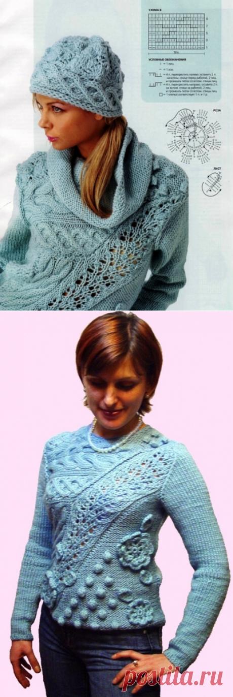 Пуловер с объемным узором спицами. Шапка спицами схема и описание