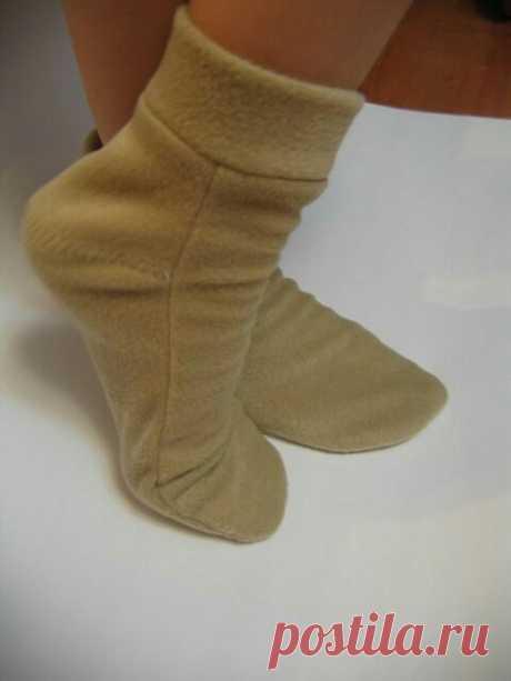 Выкройка носков - домашних сапожков Модная одежда и дизайн интерьера своими руками