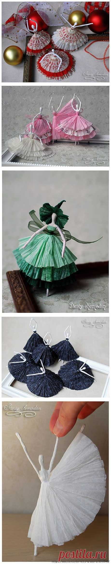 Какая прелесть) Балеринки из проволоки и салфеток.