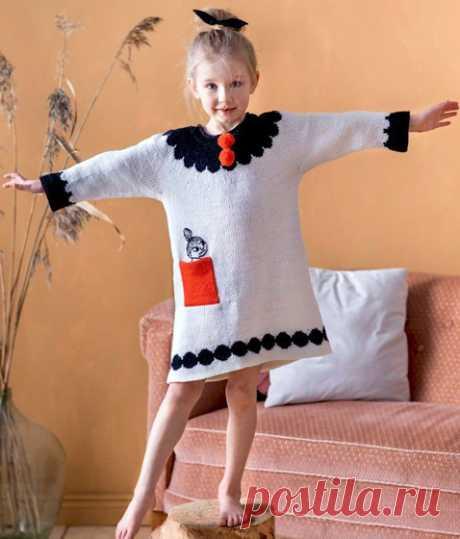 Платье-туника для девочки Вязаное спицами платье-туника для девочки. Описание в формате .pdf