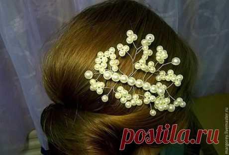 Купить Гребень «Воздушный» - белый, свадебное украшение, белый жемчуг, красивое украшение, гребень для невесты