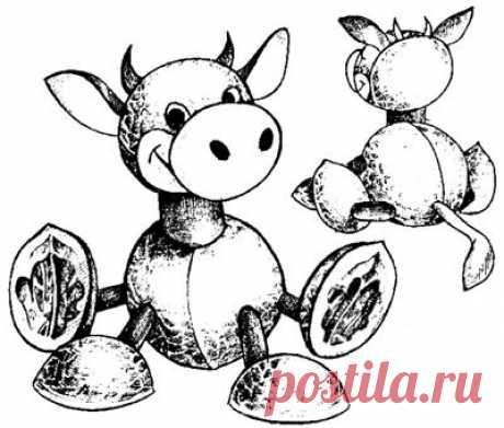 Корова из ореховых скорлупок | NosKurnos.ru