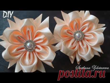 Flowers from a satin ribbon \ud83c\udf3a Kanzasha \ud83c\udf3a Elastic bands for hair \ud83c\udf3a Svetlana Zolotareva