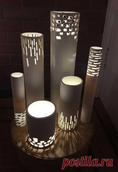 Креативная дизайнерская лампа из обрезков труб ПВХ