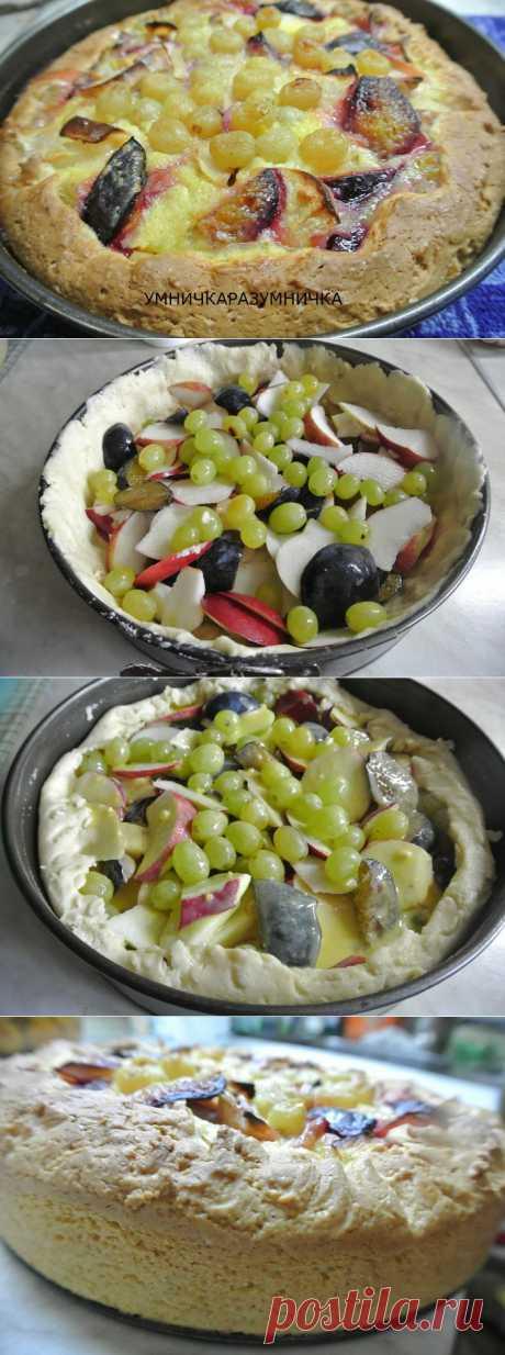 Пирог заливной с фруктами