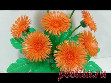 ดอกไม้จากหลอด ดอกเยอบีร่าจากหลอด by มายมิ้นท์ Gerbera Flower From Drinking Straws.