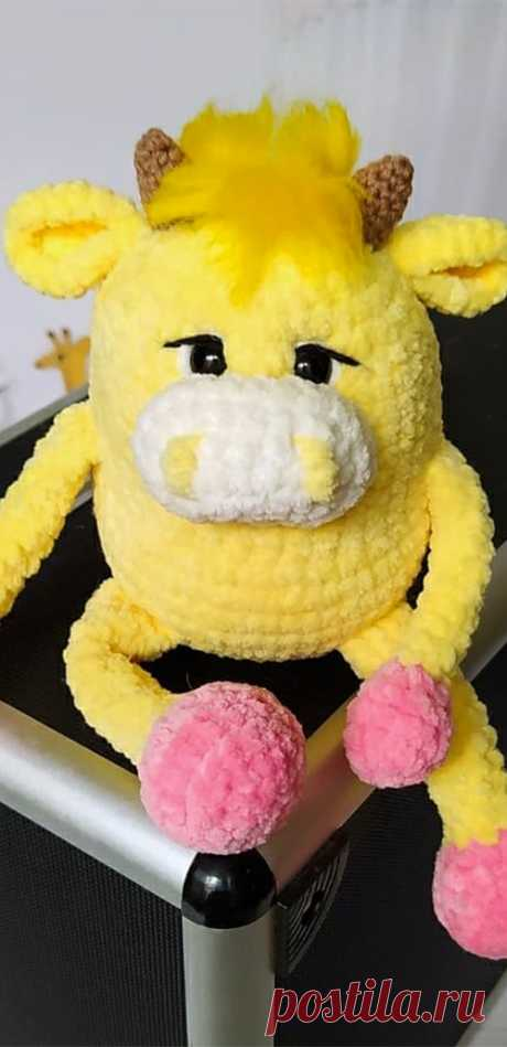 PDF Бычок Серёга крючком. FREE crochet pattern; Аmigurumi animal patterns. Амигуруми схемы и описания на русском. Вязаные игрушки и поделки своими руками #amimore - корова, коровка, телёнок, плюшевый бык, бычок из плюшевой пряжи.