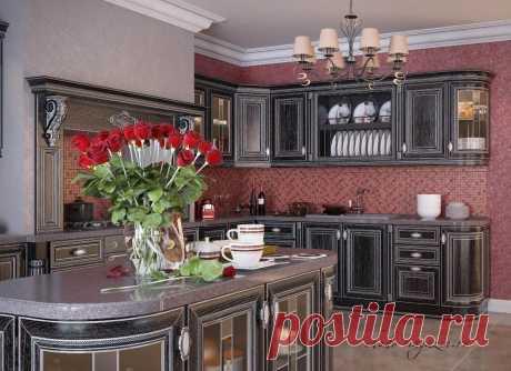 Угловая небольшая кухня из темного ясеня с островом на заказ в Москве. Интернет-магазин Chudo-magazin.ru мебели.