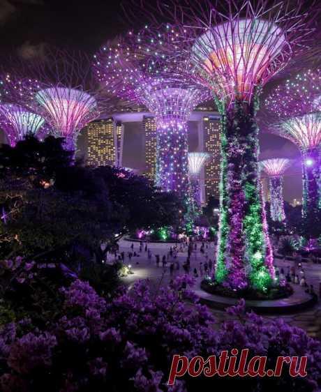 ღНочная набережная Сингапура