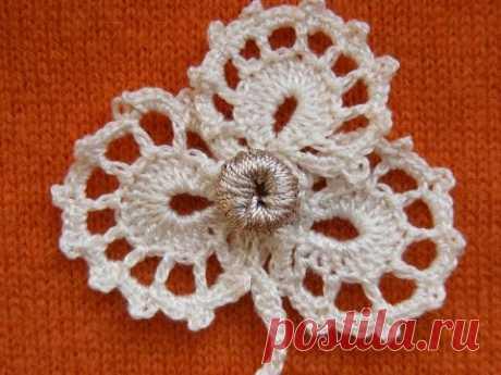 Ирландское кружево ажурный листик. Irish lace openwork leaf