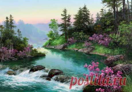 Красочные пейзажи корейского художника Kang Jung Ho.