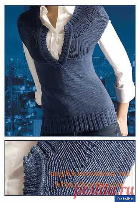 Жилет с круглой кокеткой из рубрики Вязание для женщин. Вязание спицами модели и схемы на kNITKA.ru