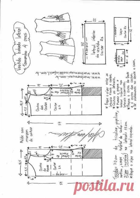 Выкройка летнего детского платья на возраст от 1 года до 16 лет (Шитье и крой) – Журнал Вдохновение Рукодельницы