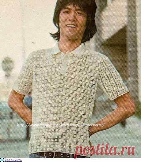 Рубашка-поло с филейным узором.
