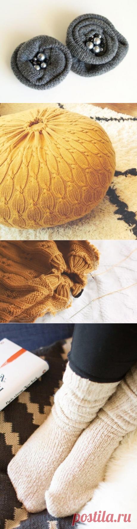 5 новых вещей, которые можно сделать из старого свитера   Тысяча и одна идея