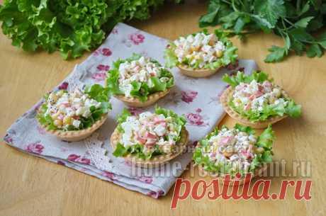 Салат в тарталетках с крабовыми палочками и красной икрой | Домашний Ресторан
