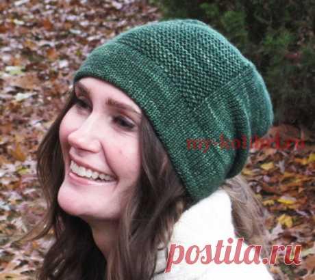 Простая шапка спицами платочной вязкой - Колибри Связать себе на осень и зиму шапочку под силу каждой девушке. Для того, чтобы это доказать, мы регул