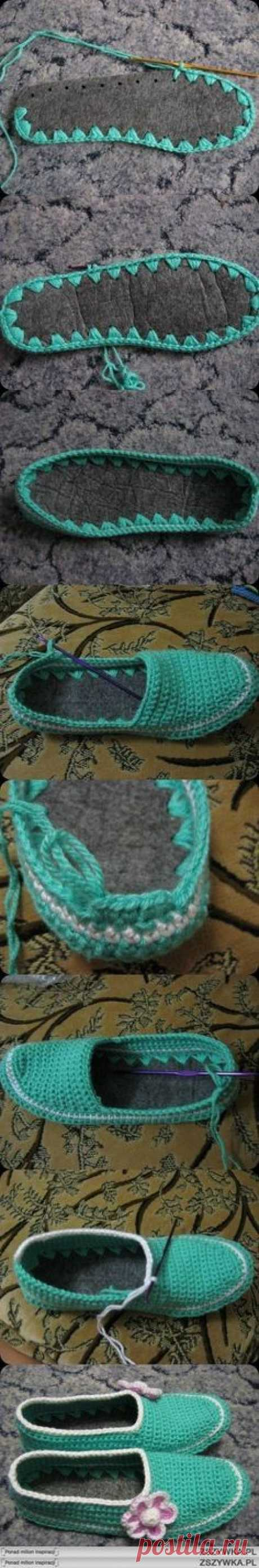 Тапочки крючком на войлочной подошве: обвязка подошвы