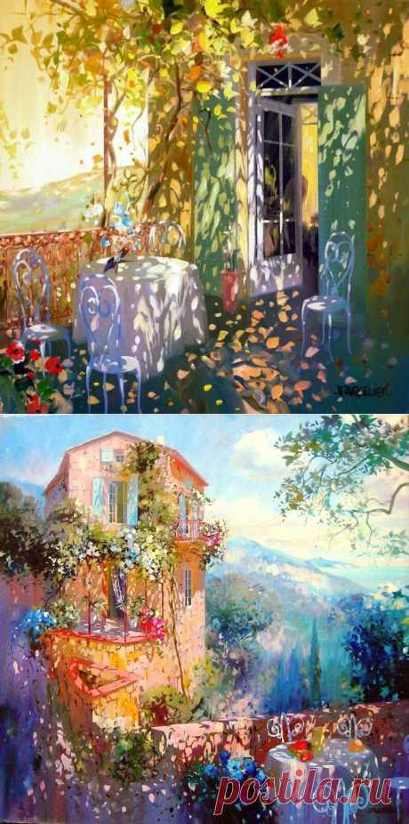 Живопись Лорана Парселье — это удивительный мир, в котором нет ни грусти, ни уныния. У него вы не встретите хмурых и дождливых картин. Даже осень на полотнах современного французского импрессиониста солнечная и мягкая, а дождь веселый и теплый.