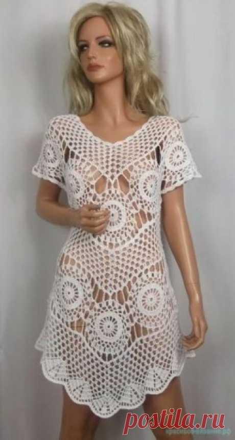 Пляжная туника крючком для девушек. — Красивое вязание