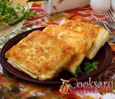 Конвертики из лаваша с ветчиной и сыром фото рецепт приготовления