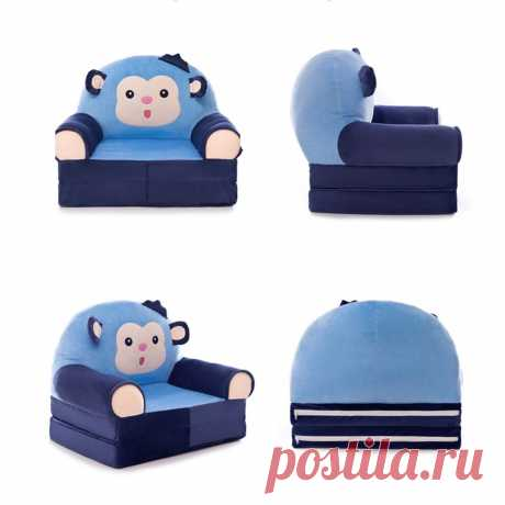 cartoon folding baby sofa cover soft fleece kids seat chair protection covers Sale - Banggood.com