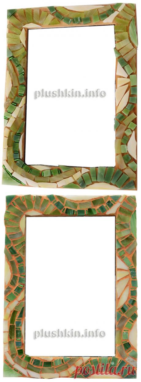 Зеленая рамка с мозаикой из витражного стекла