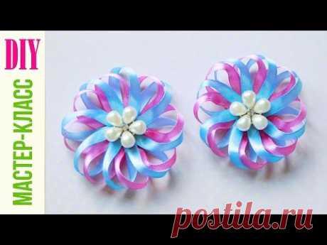 БАНТИК - РОМАШКА ИЗ УЗКОЙ ЛЕНТЫ / Bow - Daisy of ribbon / DIY NataliDoma