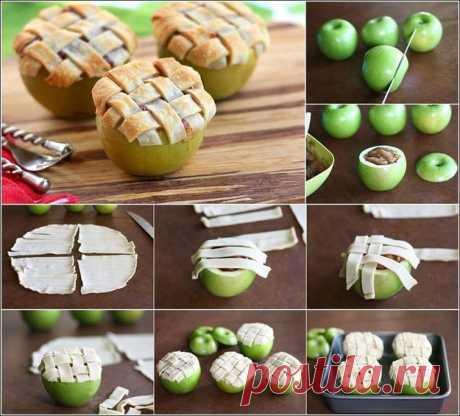 ЯБЛОКИ ЗАПЕЧЁННЫЕ !!!  **Начинка любая: творог с сухофруктами, шоколад с орехом идр. *Слоеное или сдоб/тесто -на полоски, выложи поверх яблок. *В духовку: на 25мин.
